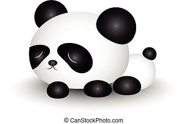 söt, panda, tecknad film