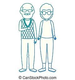 söt, par, avatars, tecken, farföräldrar