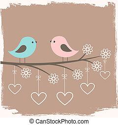 söt, par, fåglar