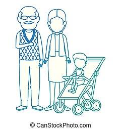 söt, par, kärra, sonson, farföräldrar