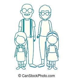 söt, par, lurar, tecken, farföräldrar