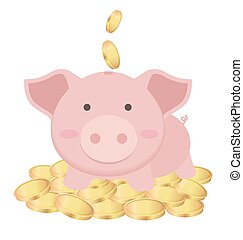 söt, piggy packa ihop, stående, på, många, guld peng, besparing, begrepp