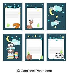 söt, planläggare, djuren, sova, vektor, mall