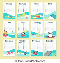 söt, planläggare, djuren, vektor, mall, kalender