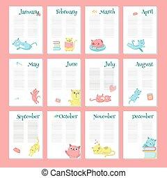 söt, planläggare, vektor, mall, katter, kalender