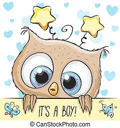 söt, pojke, hälsning, skur, baby, uggla, kort