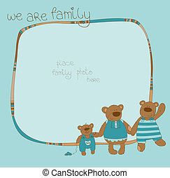 söt, ram, familj, björn, foto