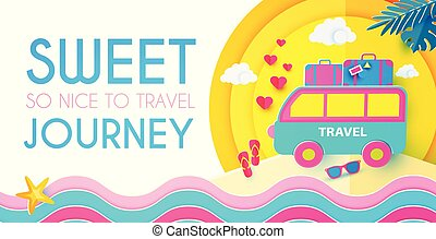 söt, resa, semester, design, papercraft., journey., template...