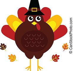 söt, retro, tacksägelse turkiet, med, hatt, isolerat, vita