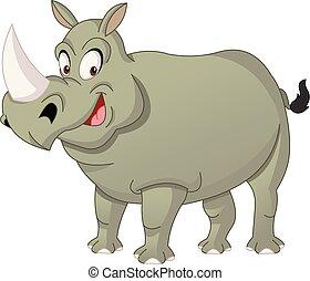söt, rolig, rhinoceros., illustration, vektor, rhino., tecknad film, lycklig