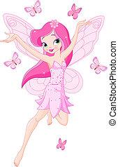 söt, rosa, fjäder, fe