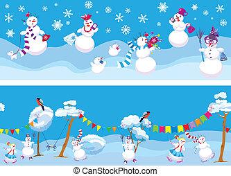 söt, sätta, bakgrunder, seamless, lov, 2, år, färsk, horisontal, snowmen, jul, design.