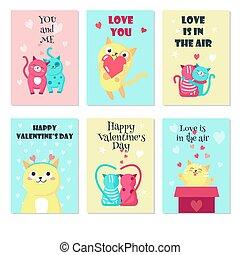 söt, sätta, kärlek, vektor, kort, katter