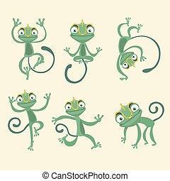 söt, set., tecknad film, illustration, kameleont