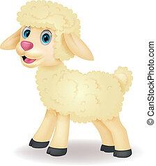 söt, sheep, tecknad film