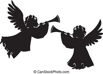 söt, silhouettes, sätta, änglar