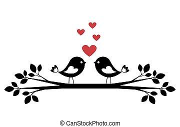 söt, silhuett, fåglar, kärlek