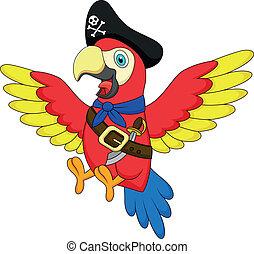 söt, sjörövare, papegoja, tecknad film