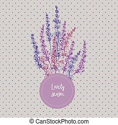 söt, skiss, bukett, lavendel, design, blomster mönstra, ...