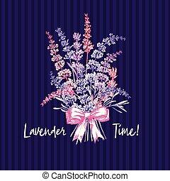 söt, skiss, bukett, lavendel, design, viol blomma, mönster, ...