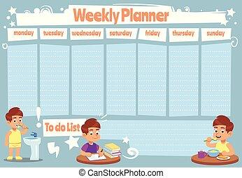 söt, skola, schema, planner., lista, barn, kalender, vektor, design, mall, veckor, varje vecka, noteringen, unge