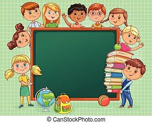 söt, skola skämtar, banner., böcker, bord, tom