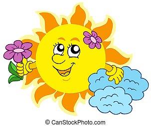 söt, sol, med, blomma