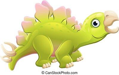 söt, stegosaurus, tecknad film, dinosaurie