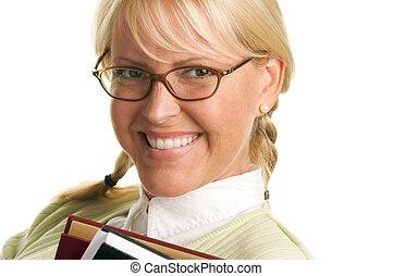 söt, student, in, glasögon