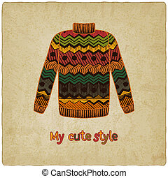 söt, sweater, gammal, bakgrund