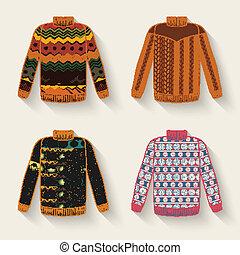 söt, sweater, sätta