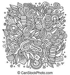 söt, te, illustration, tid, doodles, tecknad film