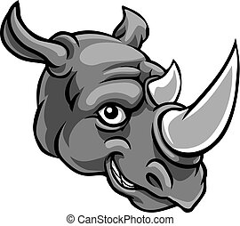 söt, tecken, noshörningen, lycklig, tecknad film, maskot