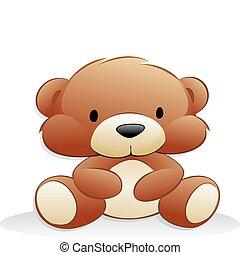 söt, tecknad film, björn, teddy