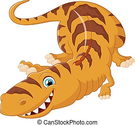 söt, tecknad film, dinosaurie