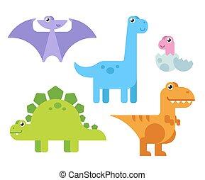 söt, tecknad film, dinosaurs