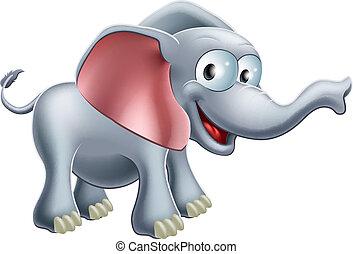 söt, tecknad film, elefant