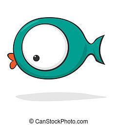 söt, tecknad film, fish