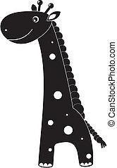 söt, tecknad film, giraff