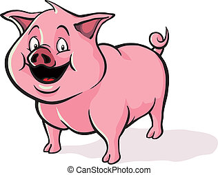 söt, tecknad film, gris