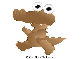 söt, tecknad film, krokodil