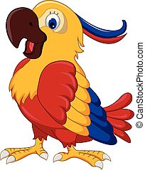 söt, tecknad film, papegoja
