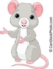 söt, tecknad film, råtta