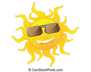 söt, tecknad film, sol, bärande solglasögoner