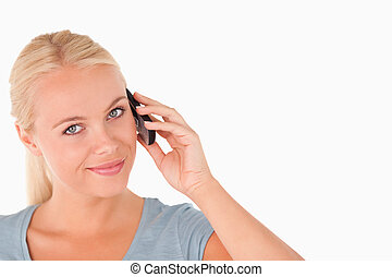 söt, telefonera kvinna, le