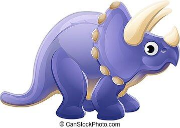 söt, triceratops, tecknad film, dinosaurie