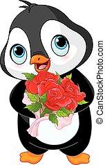 söt, valentinbrev, dag, pingvin