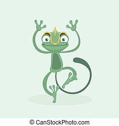 söt, vektor, illustration., chameleon.