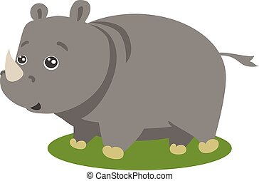 söt, vektor, isolerat, safari, noshörningen