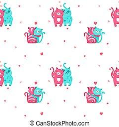 söt, vektor, kärlek, mönster, seamless, katter